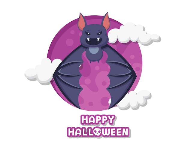 Happy halloween. cute cartoon bat flying vector on background. forest animal. flat design. greeting card, party invitation. vector illustration