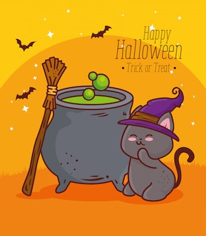 Happy halloween, cute cat with cauldron and hat witch vector illustration design