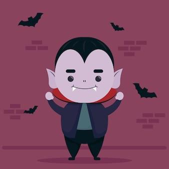 幸せなハロウィーンのかわいいドラキュラのキャラクターと飛んでいるコウモリ