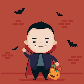 Happy halloween cute dracula character and bats flying