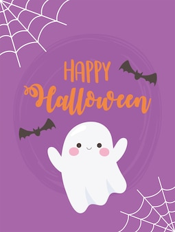 Happy halloween cute ghost bat and cobweb poster