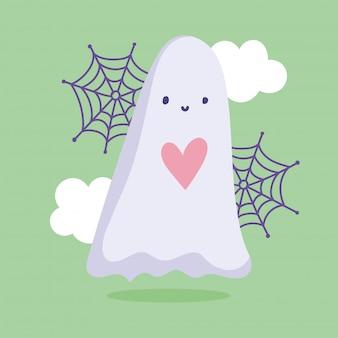 해피 할로윈, 귀여운 유령 심장 구름 및 웹 트릭 또는 치료 파티 축하 벡터 일러스트 레이션