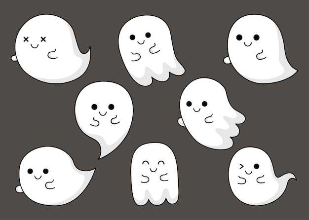 Happy halloween cute ghost scary with different faces isolated on gray background