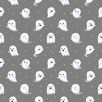 Happy halloween cute ghost scary with different faces seamless pattern isolated on gray background.