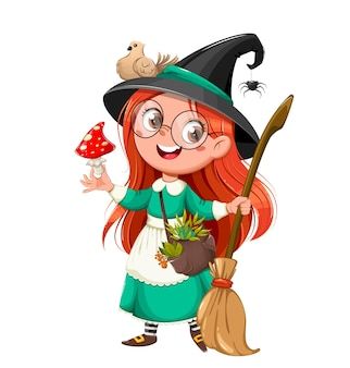 Счастливый хэллоуин милая девушка ведьма красивая маленькая ведьма мультипликационный персонаж