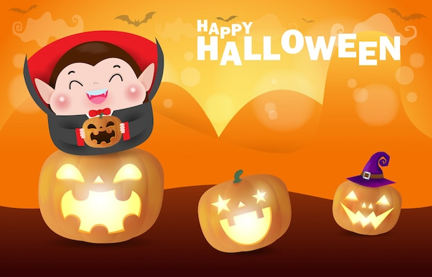 Happy halloween , cute little dracula vampire holding pumpkin in the moonlight