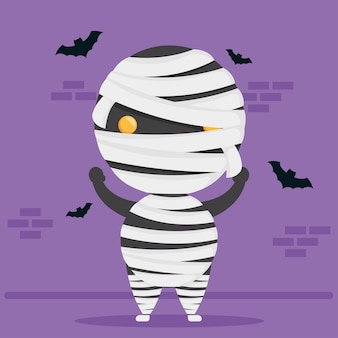 Happy halloween cute mummy character and bats flying