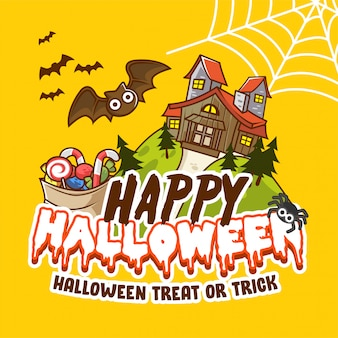 Happy halloween cute party invitation banner poster with haunted house, bat and candy illustration-