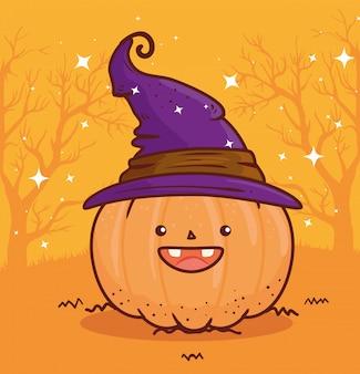 Happy halloween, cute pumpkin using hat witch vector illustration design