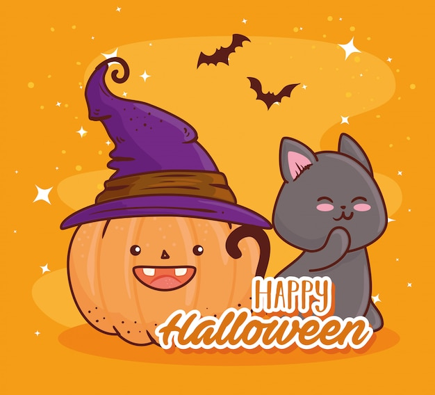 Happy halloween, cute pumpkin using hat witch with cat and bats flying vector illustration design