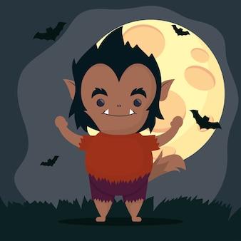 幸せなハロウィーンのかわいいオオカミの男のキャラクターと飛んでいるコウモリ