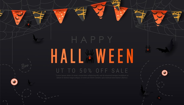 Happy halloween dark banner. scary spiders on web, bats, garlands and balls