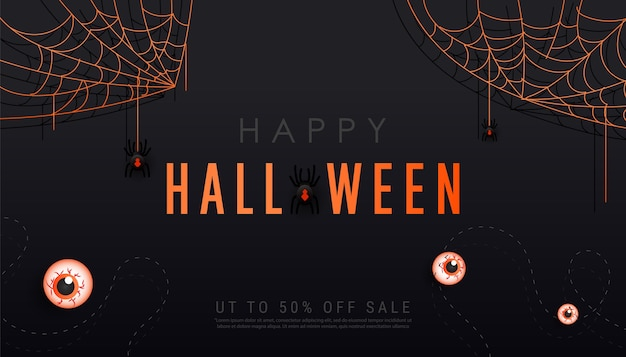 Happy halloween dark banner template with scary spiders on cobwebs, bats and eyeballs