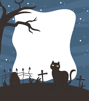 Happy halloween, dark cat cemetery fence cross tree stars sky night trick or treat party background vector illustration