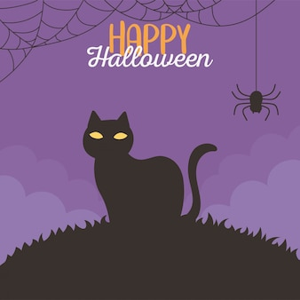 Happy halloween, dark cat and spider cobweb night trick or treat party celebration vector illustration
