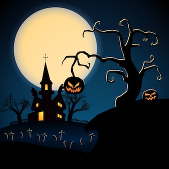 Happy halloween dark illustration with scary castle dry trees evil pumpkins graveyard