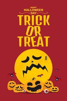 Happy halloween day banner background, pumpkin monster vector design