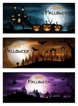 Happy halloween day banner set