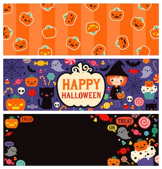 Happy halloween day banners