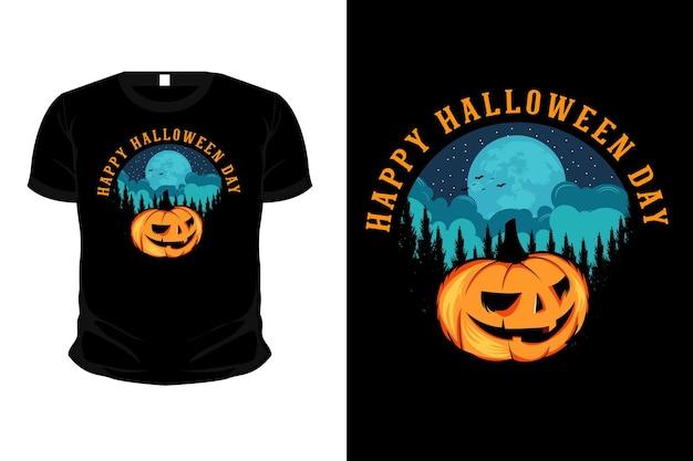 Happy halloween day merchandise illustration mockup t shirt design