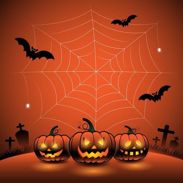 Happy halloween day pumpkins