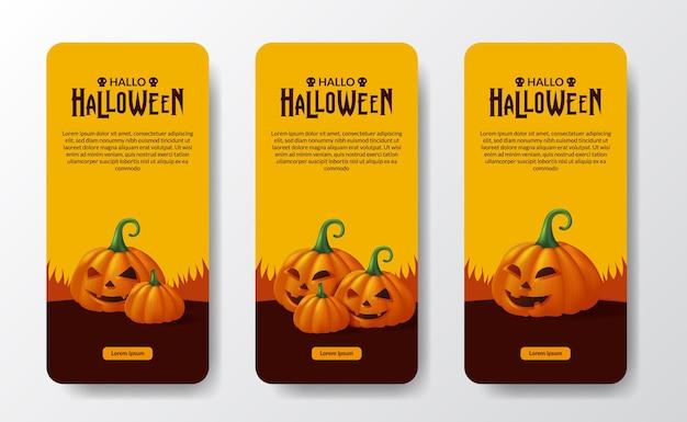 Happy halloween day trick or treat poster banner social media stories with 3d jack of lantern pumpkin monster orange