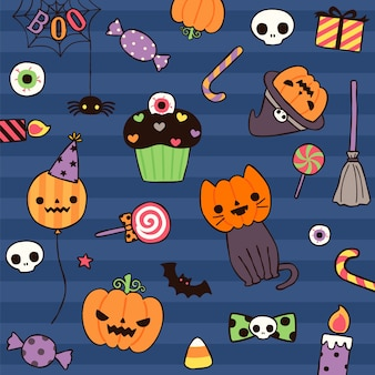 Happy halloween day with cute element in flat style