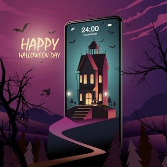 Happy halloween day на мобильном телефоне