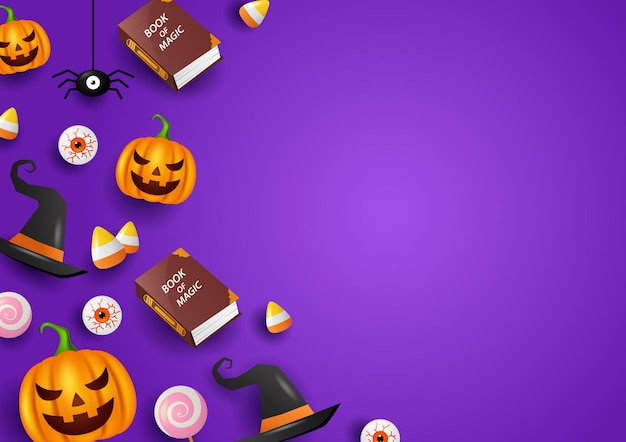 Счастливого хэллоуина украшение с фиолетовым фоном векторные иллюстрации
