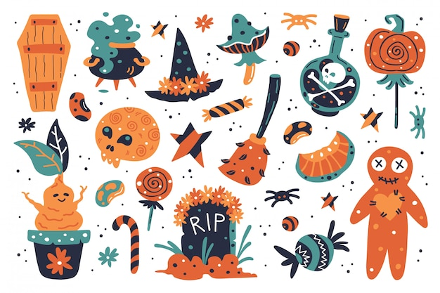 Happy halloween design elements. halloween clipart with witch hat, pumpkin, mushroom, broom, gravestone, sweets, witches cauldron, moon, poison, sweets, tomb, cauldron, mandragora, beans, stars.