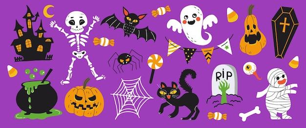 Счастливые элементы дизайна хэллоуина. праздничные предметы хэллоуина, изолированные на фиолетовом фоне. рисованный мультяшный стиль векторные иллюстрации. отлично подходит для реквизита, поздравительных открыток и наклеек на хэллоуин.