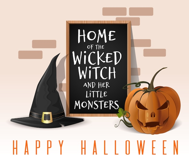 Happy halloween design. home of the wicked witch and her little monsters. house decorated for halloween celebrations.  illustration
