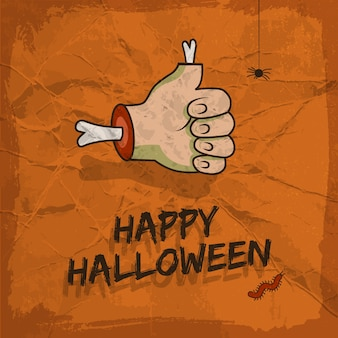 Happy halloween design with approval gesture hanging spider and worm