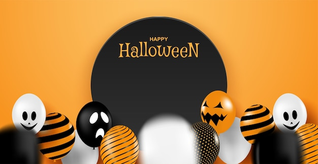 Happy halloween. design with balloons party on orange background . .