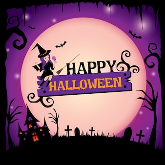 Happy halloween design with cute witch on purple background.