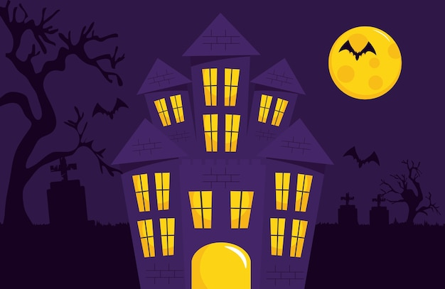 Happy halloween design with horror castle and full moon over purple background