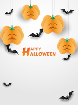 Happy halloween. design with pumpkin and bats on white background. paper art style.