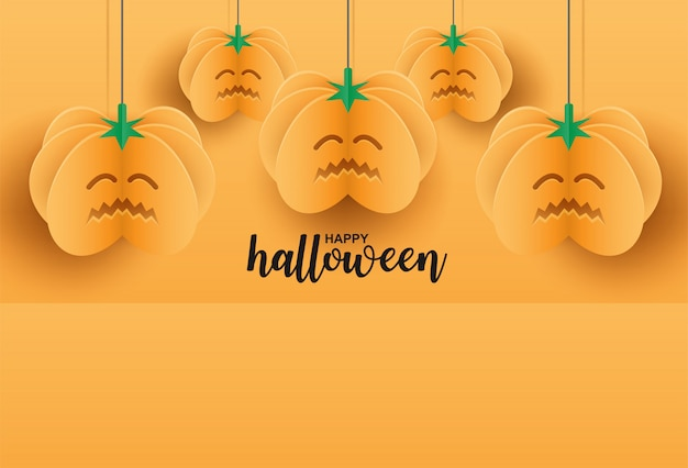 Happy halloween. design with pumpkin hanging on orange background. paper art style.
