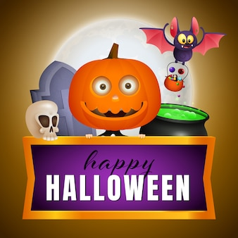 Happy halloween design with pumpkin head, bat and potion