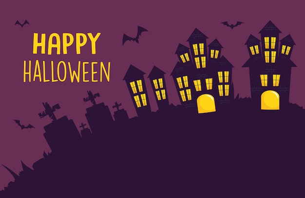 Happy halloween design with scary castles and bats around over purple background