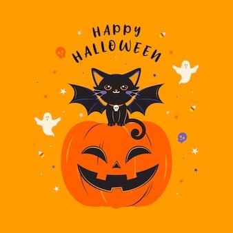 Happy halloween devil black cat sitting on pumpkin