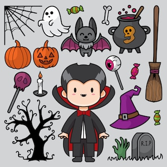 Happy halloween doodle illustration