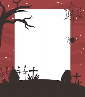 Happy halloween, dry tree gravestones spider cross background trick or treat party vector illustration