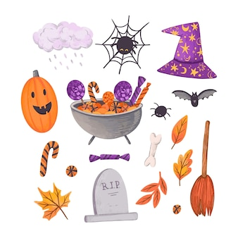 Happy halloween element collection concept