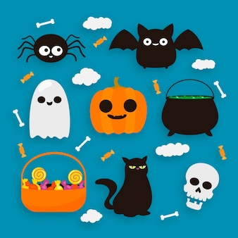 Happy halloween element collection design
