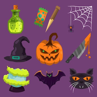 Happy halloween element collection theme