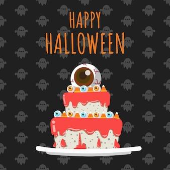 Happy halloween eye candys on top of cake.