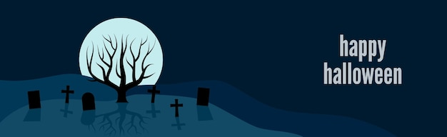 Счастливый праздничный баннер хэллоуина с одиноким деревом на кладбище на фоне полной луны в ночное время. векторная иллюстрация.