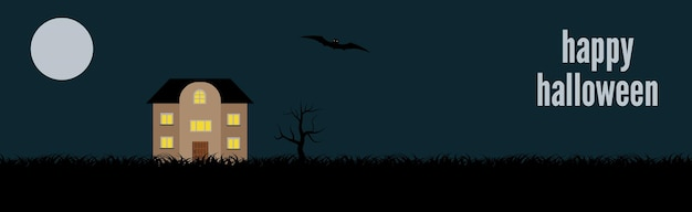 Happy halloween. festive banner with a lonely house on a background of the full moon at night. vector illustration.