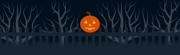 Happy halloween festive banner with pumpkin head on the fence at night. vector illustration.